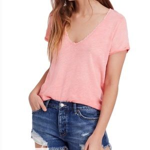 Free People - Lace Trimmed Tee
